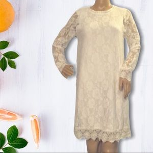 Dee Elly White Lace Overlay Long Sleeve Dr…
